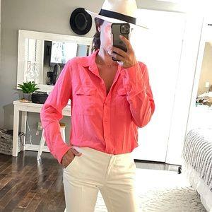 Equipment pink silk button down shirt medium